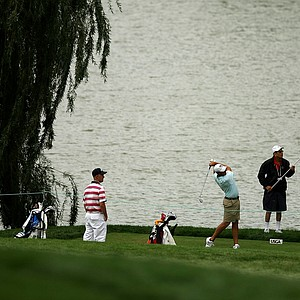 The group of Cody Gribble, Tim Crouch and Rusty Pies at No. 1 tee during the 112th U. S. Amateur Championship at Cherry Hills Country Club in Colorado. Bobby Wyatt posted a first round 64.