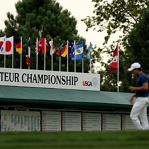 The leaderboard during the 112th U. S. Amateur Championship at Cherry Hills Country Club in Colorado.