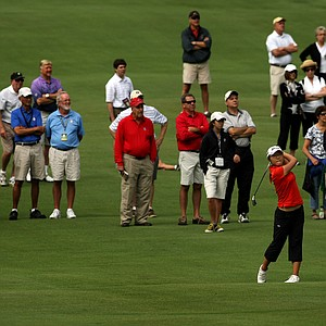Lydia Ko in the fairway at No. 15 during the second round of the finals at the 112th U. S. Women's Amateur Championship.