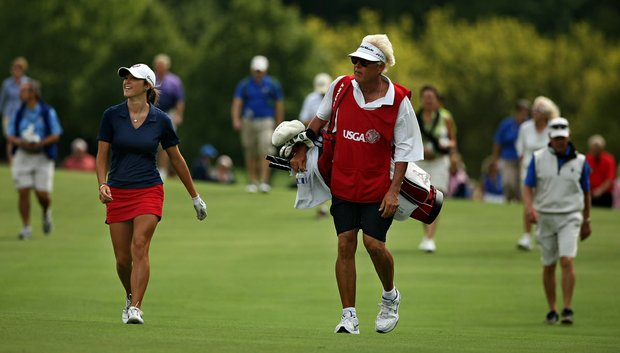 Jaye Marie Green with her father/caddie Donnie during the finals at the 112th U. S. Women's Amateur Championship.