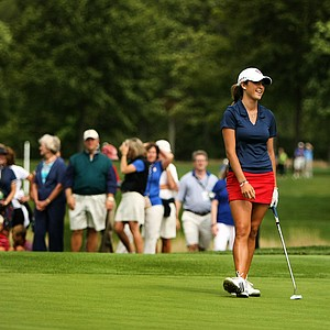 Jaye Marie Green at No. 14 laughs off yet another birdie lip out during the finals at the 112th U. S. Women's Amateur Championship.