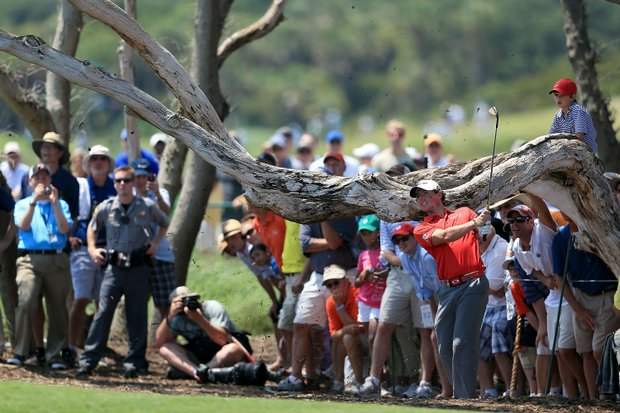 Rory McIlroy hits a shot on the second hole during the 94th PGA Championship at the Ocean Course