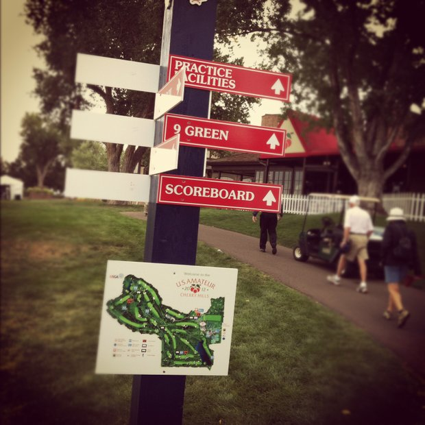 Signage during the 112th U. S. Amateur Championship at Cherry Hills Country Club in Colorado.