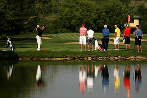 Players tee off at No. 2 during the 112th U. S. Amateur Championship at Cherry Hills Country Club in Colorado.
