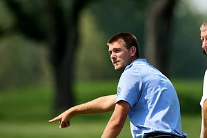 T. J. Vogel points to where his ball was on the green during the 112th U. S. Amateur Championship.