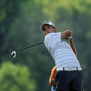 Chris Williams hits a tee shot at No. 16 during the 112th U. S. Amateur Championship at Cherry Hills Country Club.