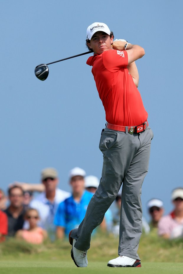 Rory McIlroy hits off the ninth tee during the final round of the 94th PGA Championship at the Ocean Course.