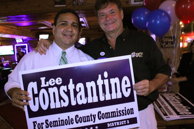 Lee Constantine (right) stands with Longwood City Commissioner Joe Durso (left) while celebrating Constantine's winning of the Republican primary election, Aug. 14, for the District 3 Seminole County Commission seat.