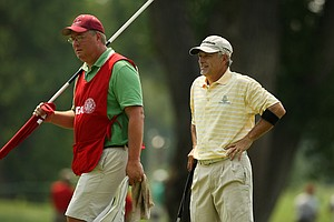 Doug Hanzel with his caddie Andy Harwood during the Round of 64 at the 112th U. S. Amateur Championship at Cherry Hills Country Club. Hanzel advanced to the Round of 32.