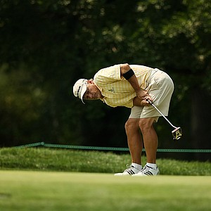 Doug Hanzel, 55, reacts to missing his birdie putt at No. 12 during the Round of 64 at the 112th U. S. Amateur Championship at Cherry Hills Country Club in Colorado. Hanzel defeated Andrew Biggadike, 3&2.