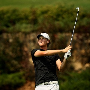 Thomas Pieters, the current NCAA Individual Champion, watches his tee shot at No. 12 during the Round of 64 at the 112th U. S. Amateur Championship. He defeated Jordan Spieth to advance to Round of 32.