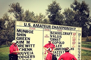The leaderboard at No 13 during the Round of 64 at the 112th U. S. Amateur Championship at Cherry Hills Country Club in Colorado.