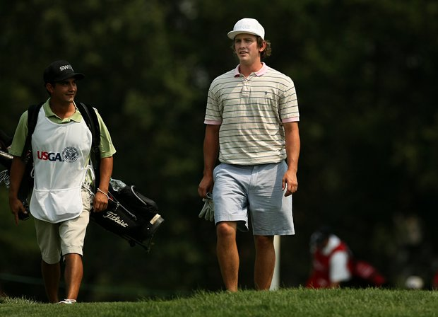 Justin Spray, right, with his caddie Christopher Melendez during the Round of 64 at the 112th U. S. Amateur Championship.