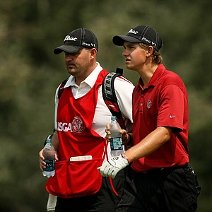 Patrick Rodgers, right, during the Round of 64 at the 112th U. S. Amateur Championship at Cherry Hills Country Club.