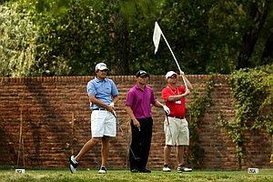 Bobby Wyatt and Matthew Stieger at  No. 18 during the Round of 32 at the 112th U. S. Amateur Championship at Cherry Hills Country Club in Colorado.