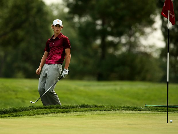 Thomas Pieters reacts to missing his putt at No. 15 during the Round of 32 at the 112th U. S. Amateur Championship at Cherry Hills Country Club. Pieters lost to Albin Choi.