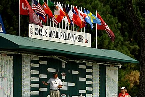 The leaderboard during the Round of 32 at the 112th U. S. Amateur Championship at Cherry Hills Country Club in Colorado.