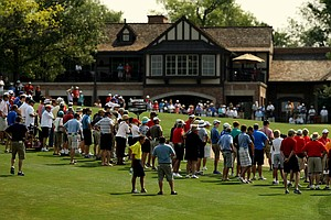 A crowd gathers to watch the Chris Williams and Steven Fox match at No. 9 during the quarterfinals of the 112th U. S. Amateur Championship at Cherry Hills Country Club in Colorado.