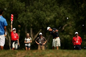Steven Fox hits his tee shot at No. 16, his last hole, before defeating Chris Williams, during the quarterfinals of the 112th U. S. Amateur Championship at Cherry Hills Country Club in Colorado.