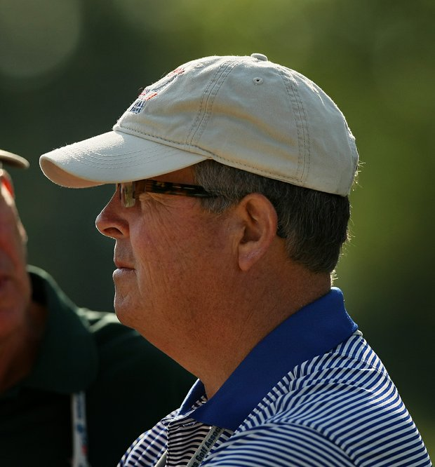 Jim Holtgrieve, the current Walker Cup captain, watches the matches during the semifinals of the 112th U. S. Amateur Championship at Cherry Hills Country Club in Cherry Hills Village, Colo. Holtgrieve was the previous Walker Cup captain as well.