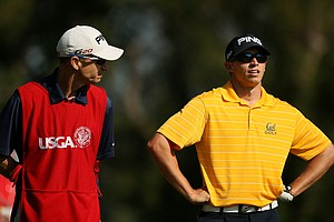 Brandon Hagy with his father/caddie Rick Hagy during the semifinals of the 112th U. S. Amateur Championship at Cherry Hills Country Club in Cherry Hills Village, Colo. Hagy lost to Steven Fox 2 up.