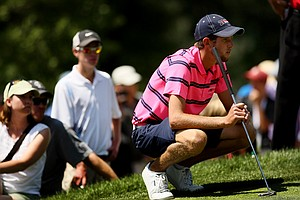 Steven Fox, the 63rd seed, defeated Brandon Hagy during the semifinals of the 112th U. S. Amateur Championship at Cherry Hills Country Club in Cherry Hills Village, Colo.