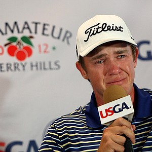 Michael Weaver broke down during his press conference when asked what it meant to have his dad on the bag at the 112th U. S. Amateur Championship at Cherry Hills Country Club in Cherry Hills Village, Colo.