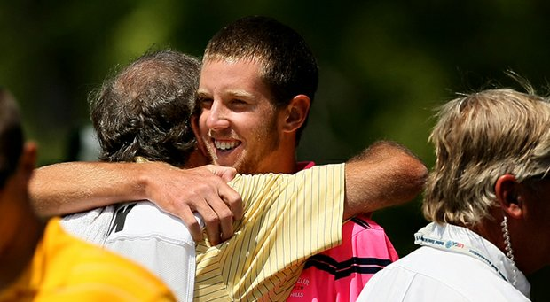Steven Fox celebrates after defeating Brandon Hagy for a spot in the U.S. Amateur final.