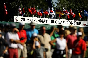 Michael Weaver and Steven Fox face off during the final of the 112th U. S. Amateur Championship at Cherry Hills Country Club in Cherry Hills Village, Colo.