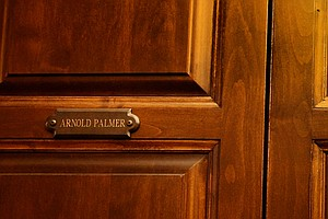 The 2012 U. S. Amateur Champion's locker is nestled between Arnold Palmer and Jack Nicklaus' locker at Cherry Hills Country Club in Cherry Hills Village, Colo.