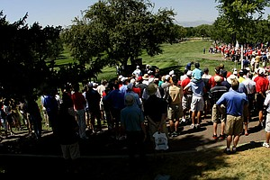 The first tee box during the second 18 of the final at the 112th U. S. Amateur Championship at Cherry Hills Country Club in Cherry Hills Village, Colo.