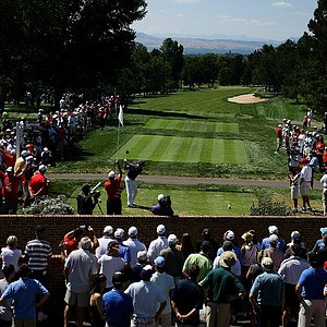 Michael Weaver tees off at No. 10 during the second round of the final of the 112th U. S. Amateur Championship at Cherry Hills Country Club in Cherry Hills Village, Colo.