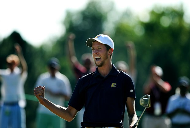 Steven Fox celebrates after sinking his putt on the 37th hole to win the 112th U. S. Amateur Championship at Cherry Hills Country Club in Cherry Hills Village, Colo. He defeated Michael Weaver.