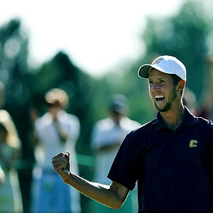 Steven Fox pumps his fist after sinking his putt on the 37th hole to win the 112th U. S. Amateur Championship at Cherry Hills Country Club in Cherry Hills Village, Colo. Fox defeated Weaver to win the championship.