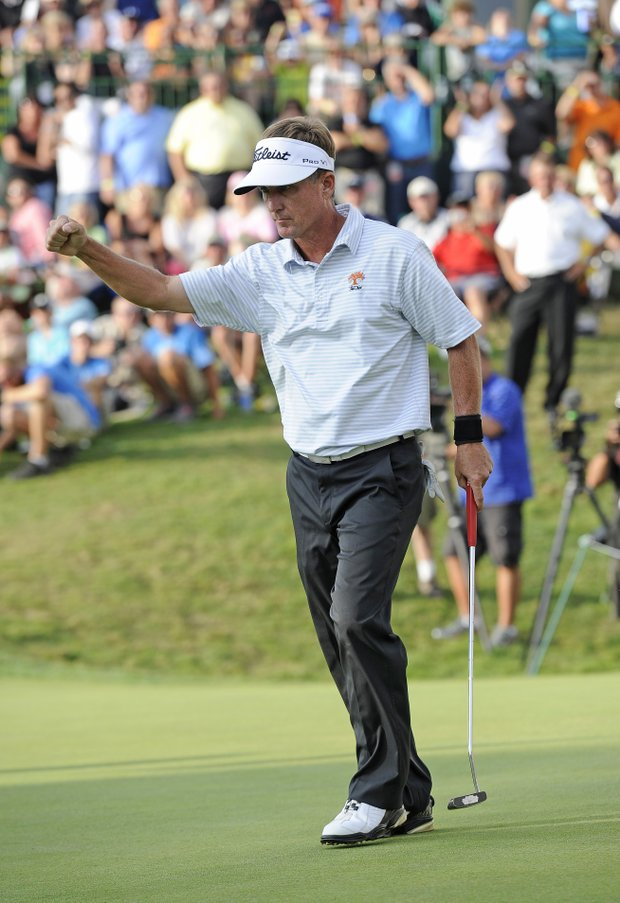 Willie Wood celebrates after winning the Dick's Sporting Goods Open in a one-hole playoff at En-Joie Golf Course.