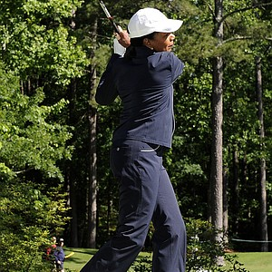 Dr. Condoleezza Rice hits a drive from the second tee box during the Regions Tradition NCR Pro-AM at Shoal Creek on May 4, 2011 in Birmingham, Alabama.