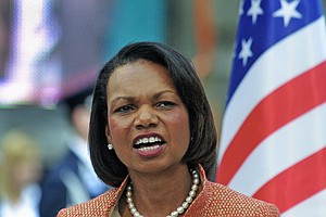 Former U.S. Secretary of State Condoleezza Rice delivers a speech during the unveiling ceremony of the new statue of former US President Ronald Reagan in the Freedom Square of Budapest downtown close to U.S Embassy building on June 29, 2011 to mark 100th anniversary of Reagan's birth.