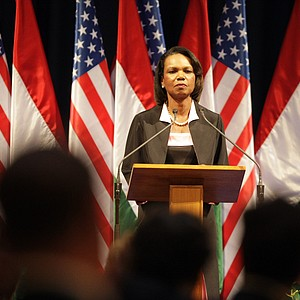 Former US secretary of state Condoleezza Rice delivers a speech during the first 'Freedom Dinner' in the Museum of Fine Arts in Budapest on June 29, 2011.