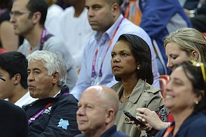 US former state secretary Condoleeza Rice watches the men's basketball preliminary round match Spain vs Brazil as part of the London 2012 Olympic Games at the Basketball Arena on August 6, 2012 in London.
