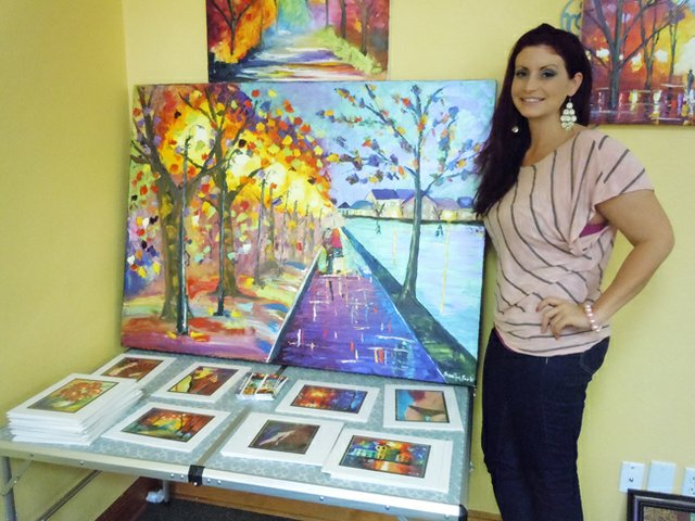 Jessilyn Park shows off her work inspired by her grandmother.