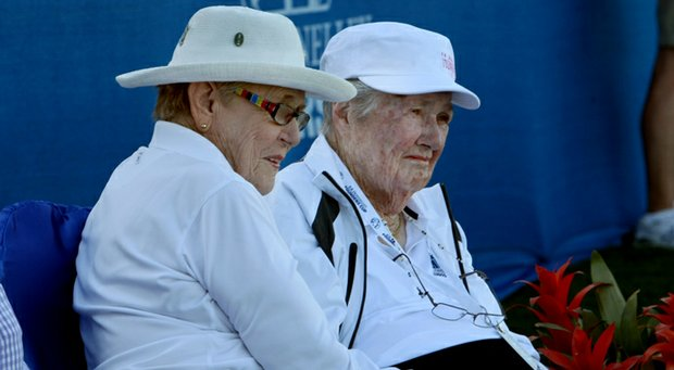 LPGA Founders Shirley Spork (left) and Louise Suggs during the 2012 RR Donnelley Founders Cup.