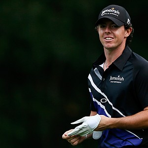 Rory McIlroy looks during the First Round of The Barclays on the Black Course at Bethpage State Park August 23, 2012.