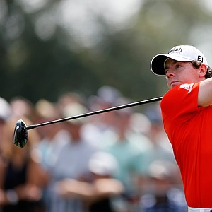 Rory McIlroy watches his tee shot on the first hole during the second round of The Barclays at the Black Course at Bethpage State Park August 24, 2012.