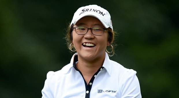 Lydia Ko smiles after her second shot on the 17th hole during the second round of the Canadian Women's Open in Coquitlam, Canada.