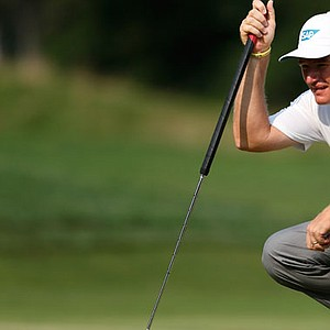 Ernie Els with his putter at the Barclays.