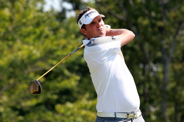 Jeff Overton tees off on the 17th hole during the first round of the Deutsche Bank Championship at TPC Boston.