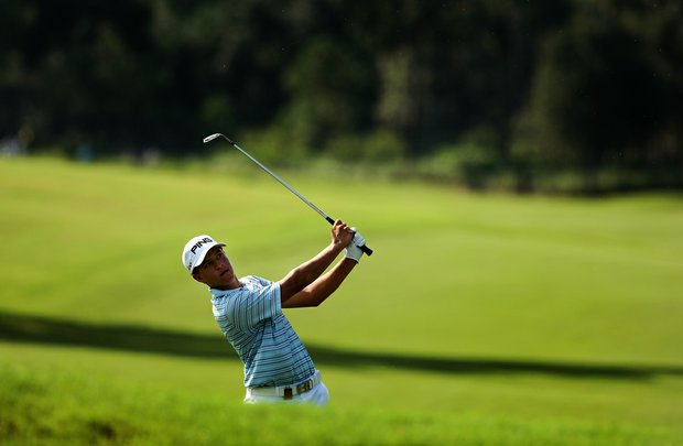 Cameron Champ hits a shot at No. 9 during the final round of the TPC Junior Players at TPC Sawgrass The Players Stadium.