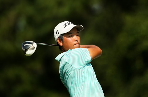 Andy Shim hits his tee shot at No. 10 during the final round of the TPC Junior Players at TPC Sawgrass The Players Stadium.