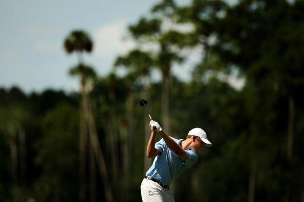 Robby Shelton IV hits his tee shot at No. 6 during the final round of the TPC Junior Players at TPC Sawgrass The Players Stadium.