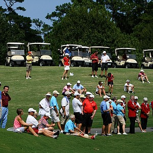 A crowd gathers at No. 18 to watch the final group during the final round of the TPC Junior Players at TPC Sawgrass The Players Stadium. Robby Shelton won the tournament by a stroke over Brad Dalke.